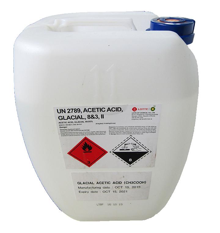 Acetic acid (CH3COOH) 99%, Hàn Quốc, 30kg/can