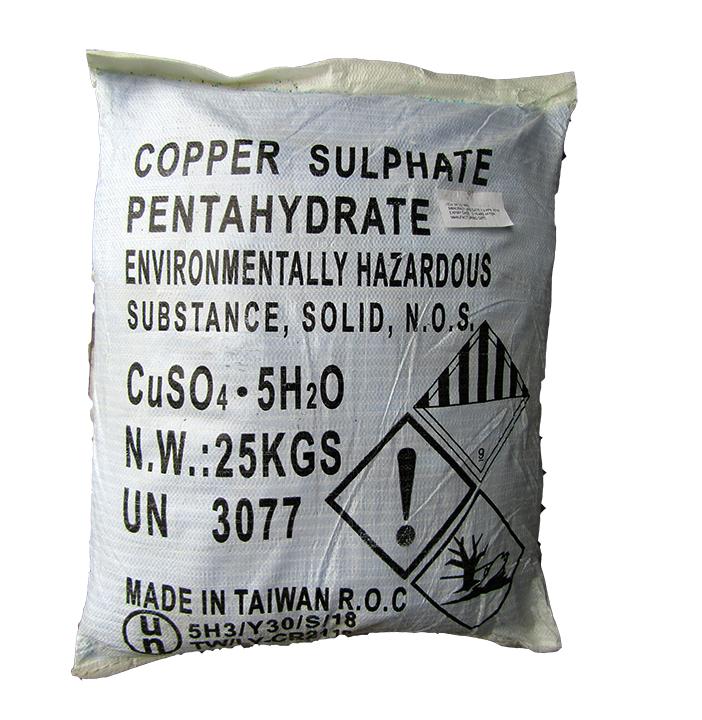 Copper sulfate 99% CuSO4.5H2O, Đài Loan, 25kg/bao