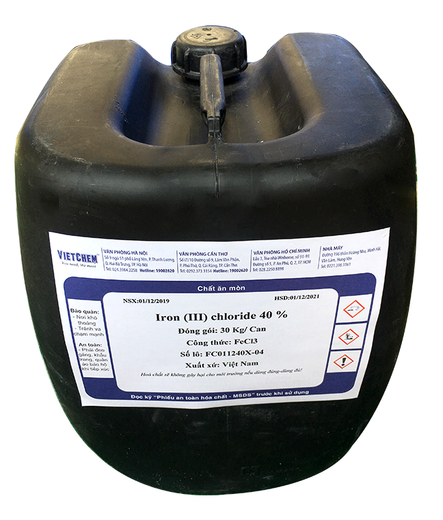 Iron III Chloride FeCl3 40%, Việt Nam, 30kg/can