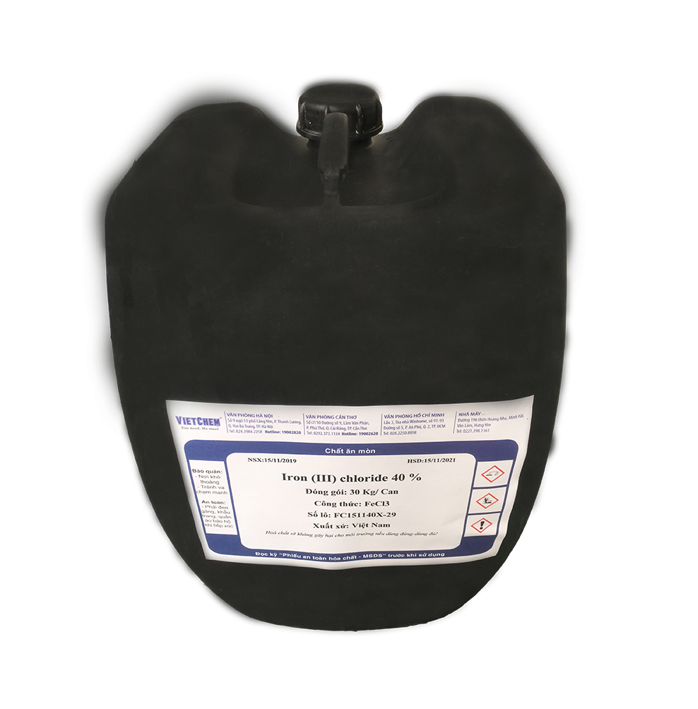 Sắt III Sulfate lỏng Fe2(SO4)3 40%, Việt Nam, 30kg/can hoặc 200kg/phuy